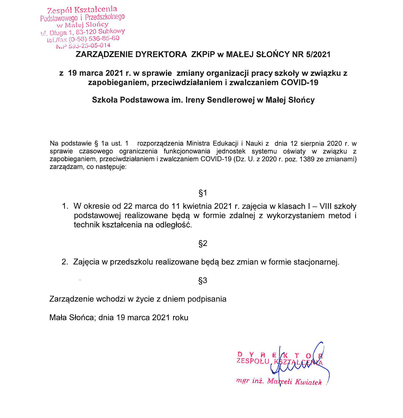 ZARZĄDZENIE DYREKTORA ZKPiP w MAŁEJ SŁOŃCY NR 5/2021