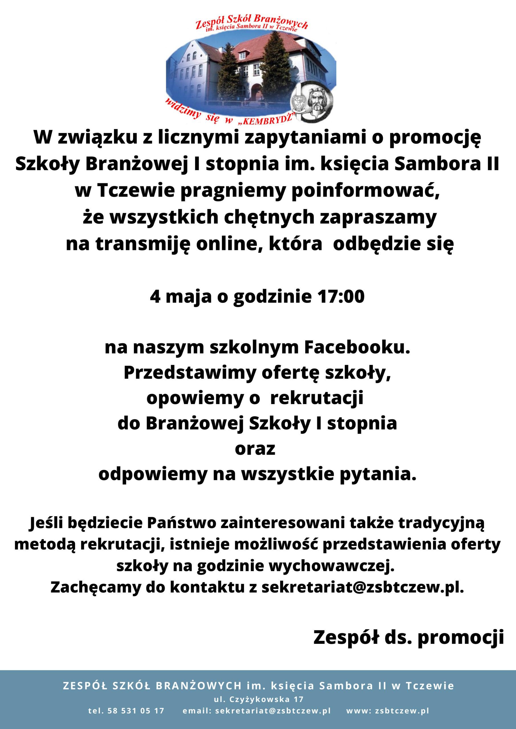 Rekrutacja do Zespółu Szkół Branżowych im. księcia Sambora II w Tczewie